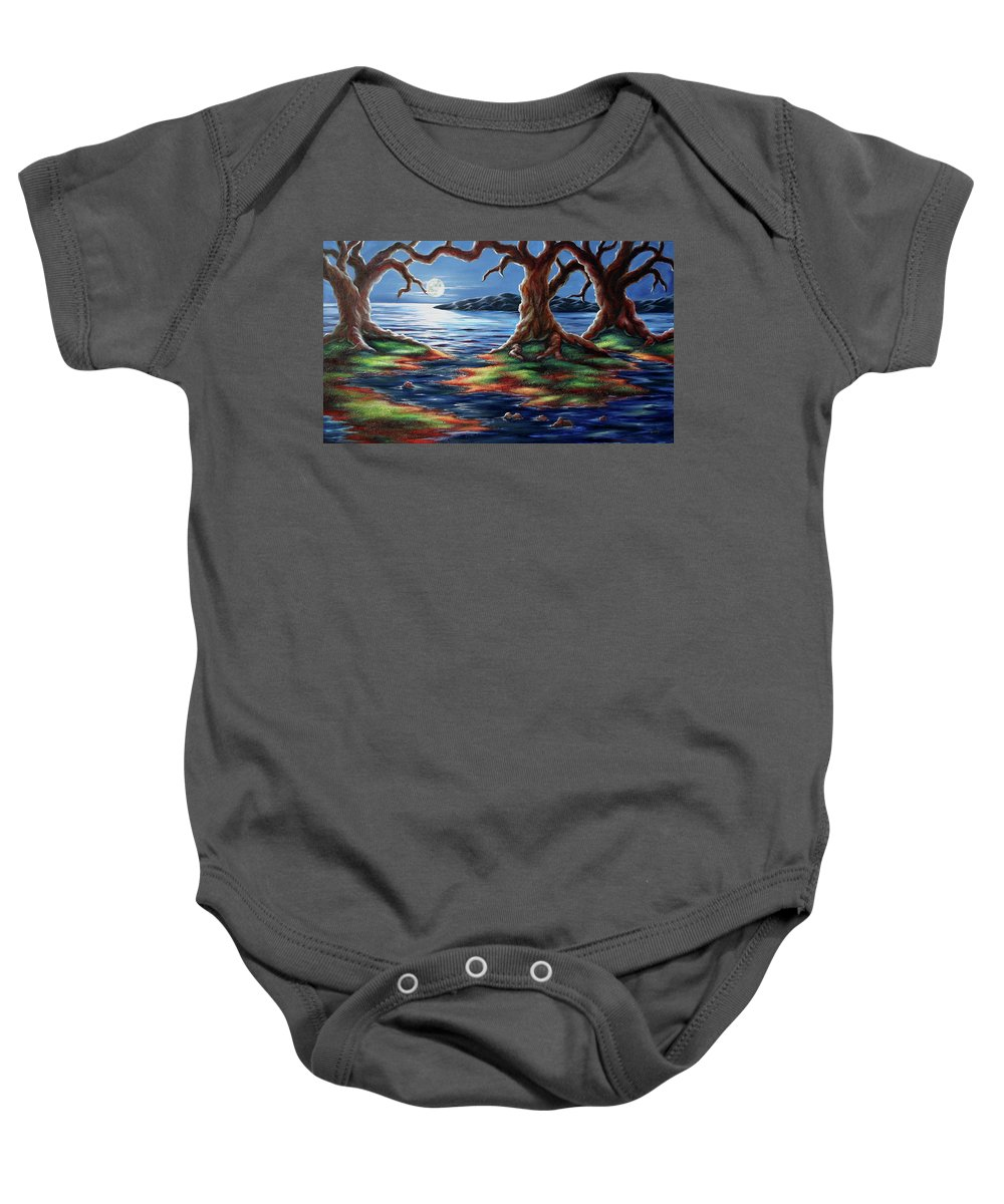 Textured Painting Baby Onesie featuring the painting United Trees by Jennifer McDuffie