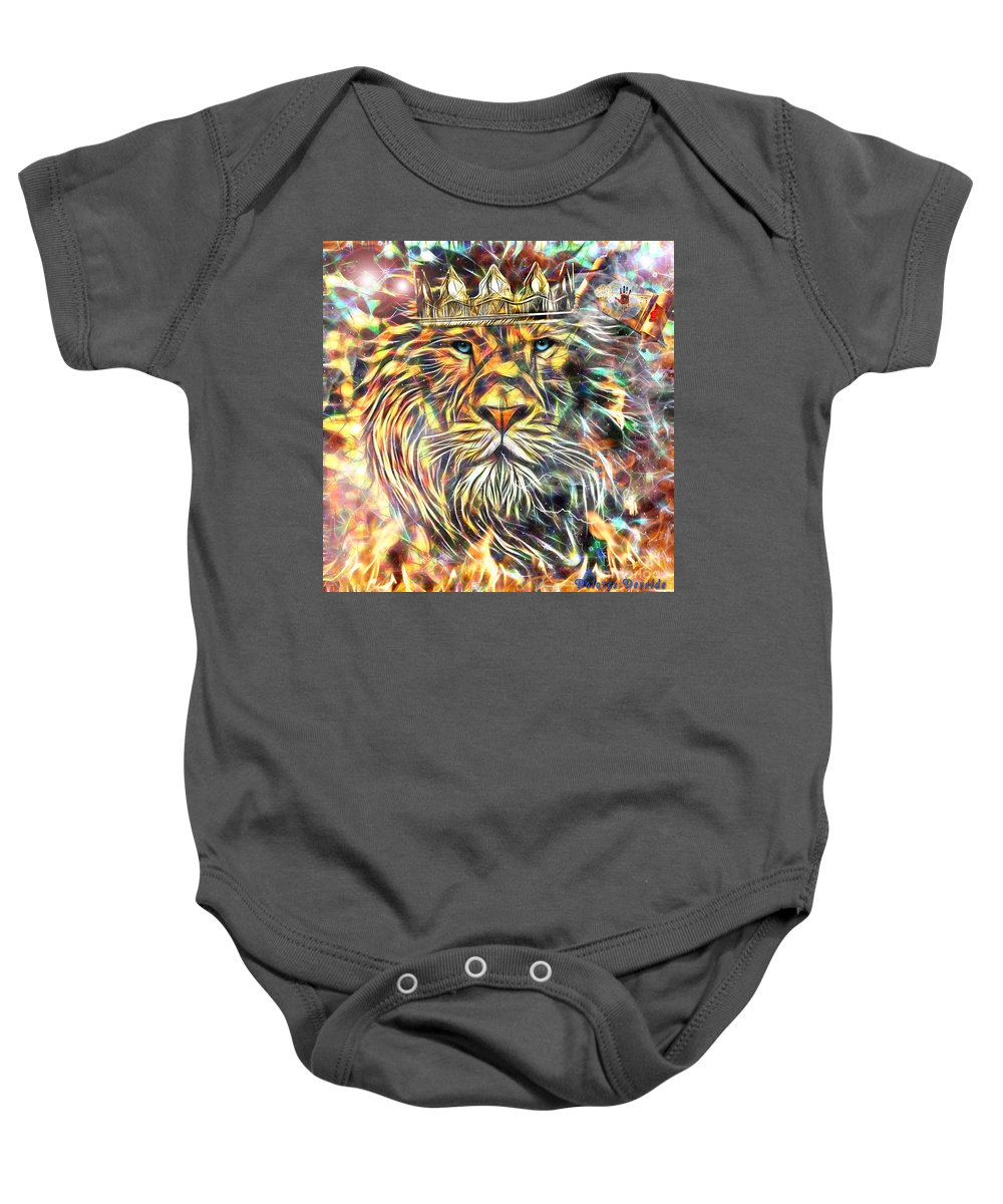 Jesus Baby Onesie featuring the digital art Unsealing The Scroll by Dolores Develde