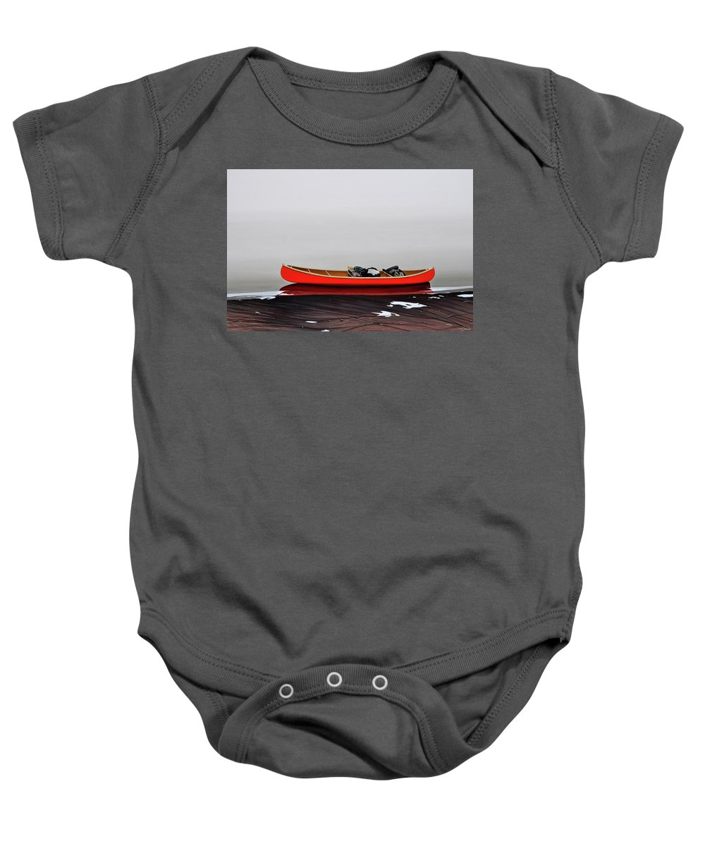 Landscape Paintings Baby Onesie featuring the painting Until The Fog Lifts by Kenneth M Kirsch