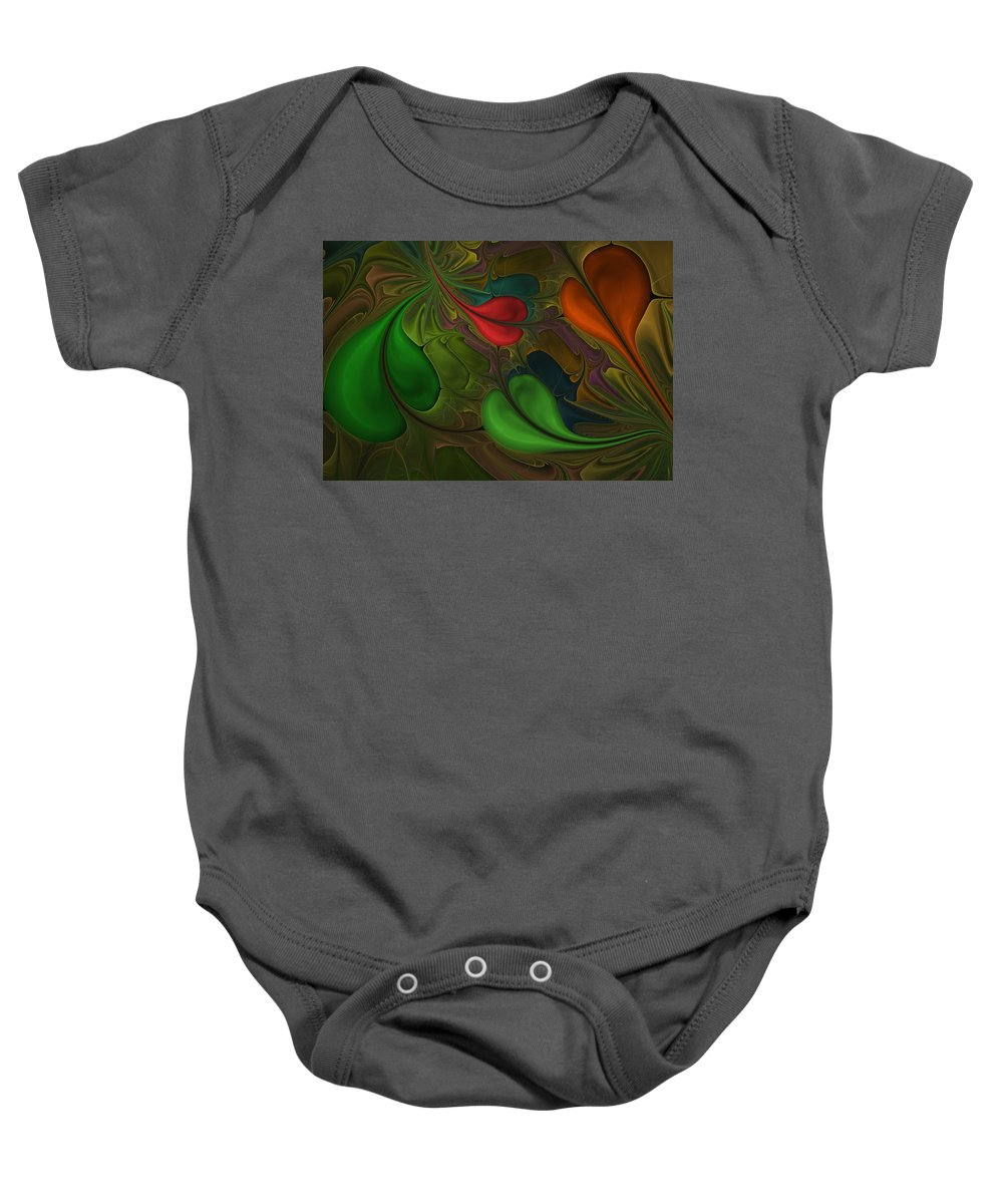 Digital Painting Baby Onesie featuring the digital art Untitled 1-26-10 Orang And Green by David Lane