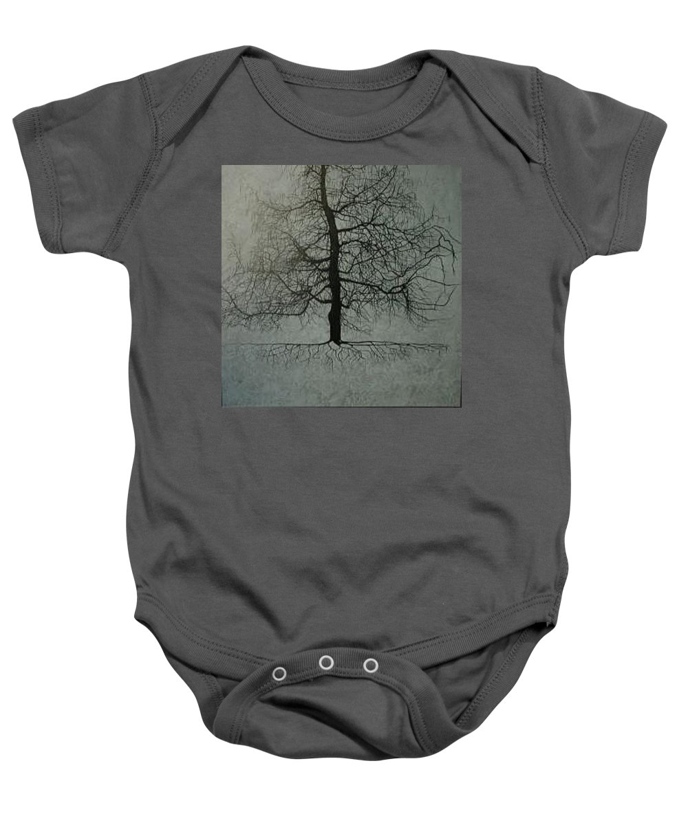 Silhouette Baby Onesie featuring the painting Untitled Blue by Leah Tomaino
