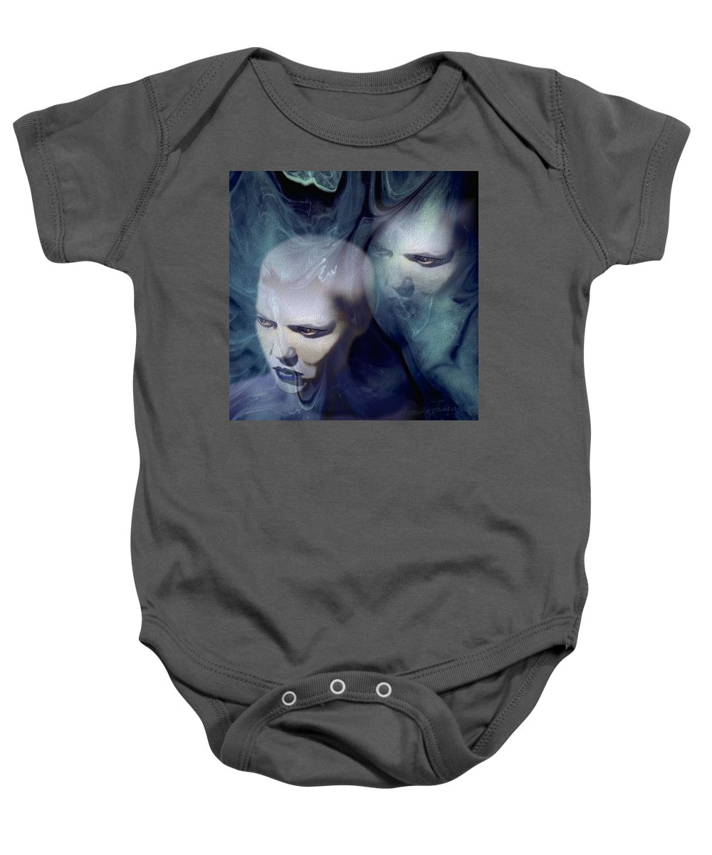 Dream Afterlife Experience Blue Smoke Baby Onesie featuring the digital art Untitled by Veronica Jackson