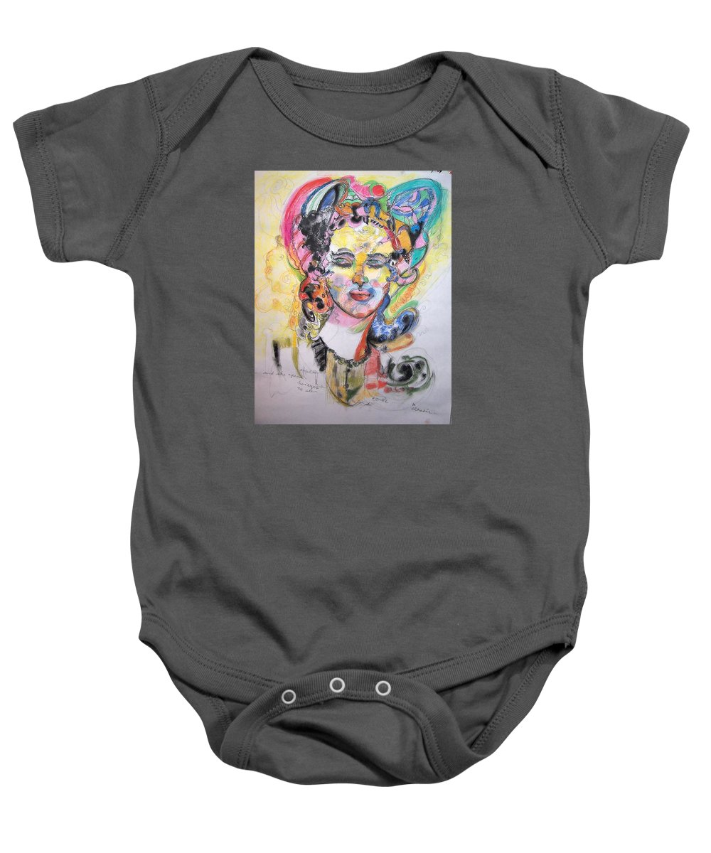 Colorful Pastel Baby Onesie featuring the drawing Urban Beauty by Mykul Anjelo