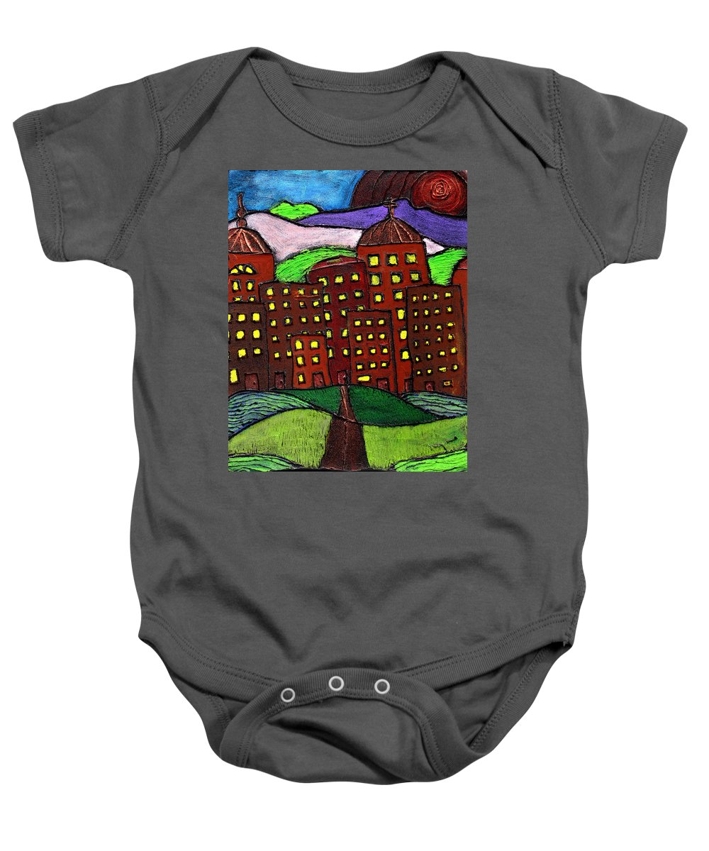 City Scape Baby Onesie featuring the painting Urban Legand by Wayne Potrafka