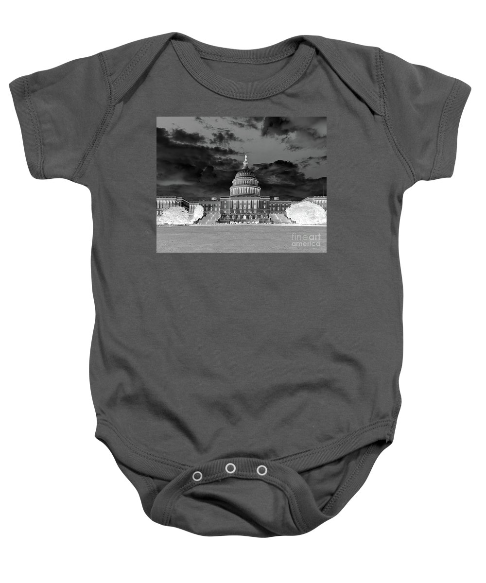 Congress Baby Onesie featuring the photograph Us Capitol Washington Dc Negative by Kimberly Blom-Roemer