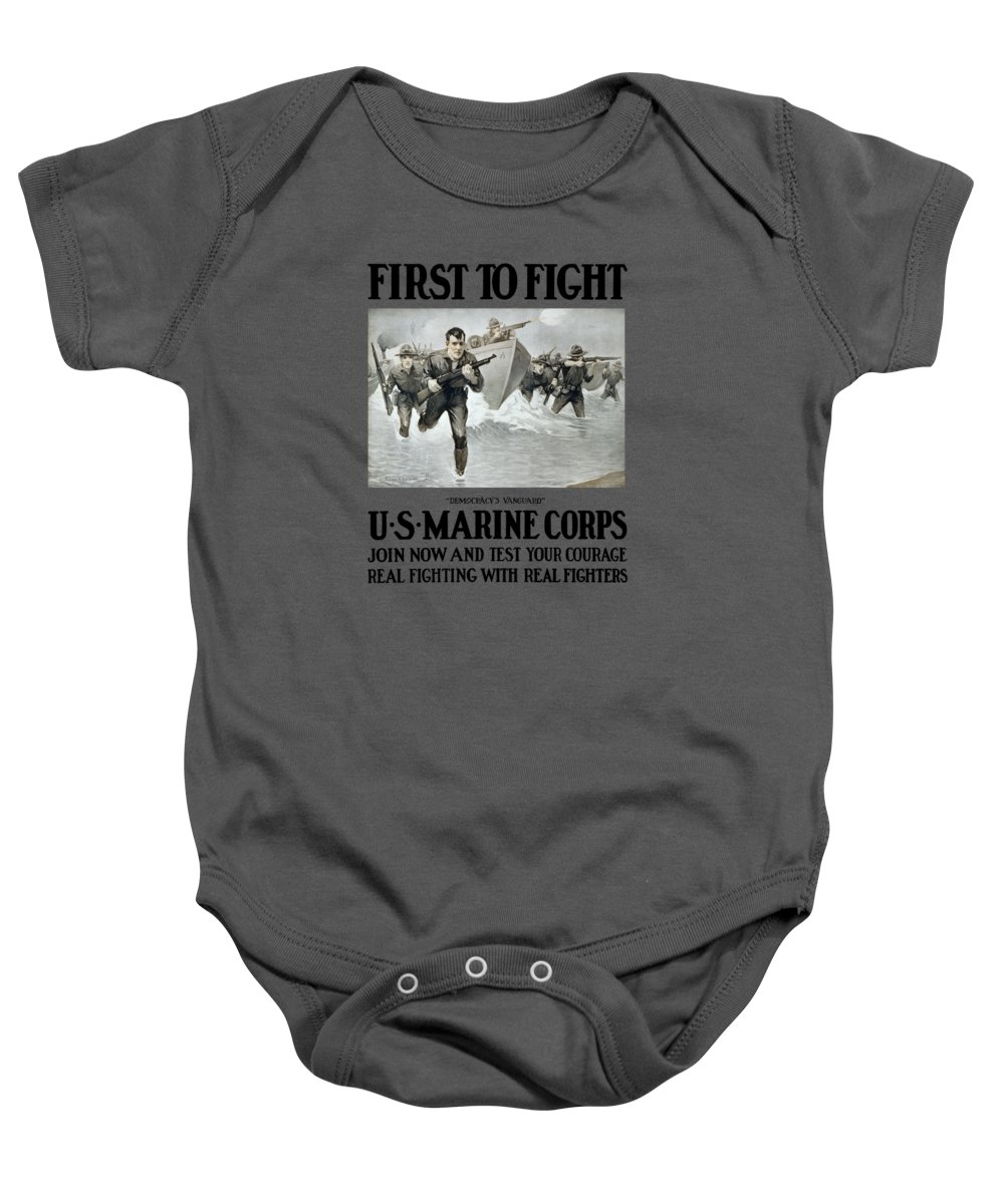 Marines Baby Onesie featuring the painting Us Marine Corps - First To Fight by War Is Hell Store