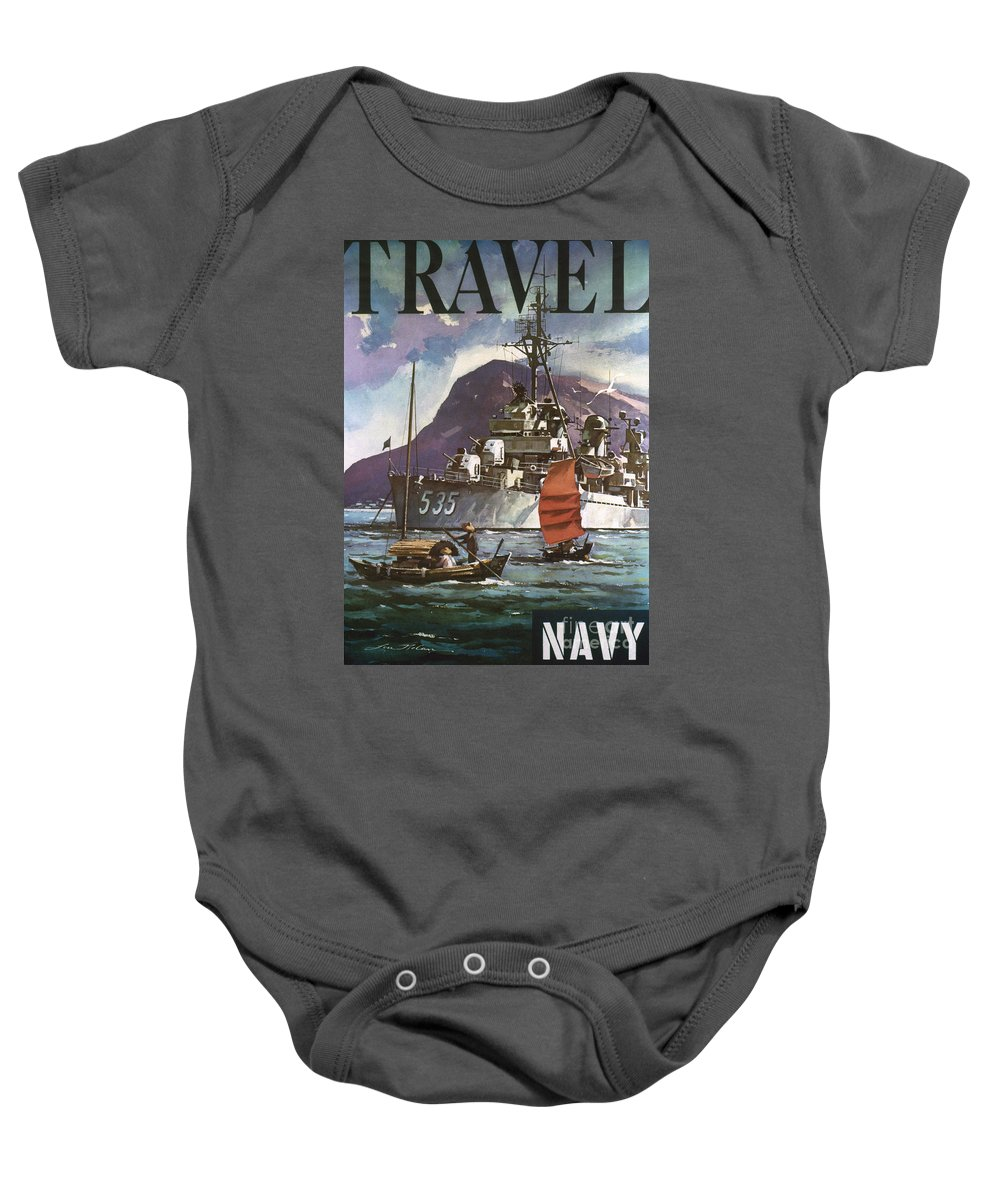 1930s Baby Onesie featuring the photograph U.s. Navy Travel Poster by Granger