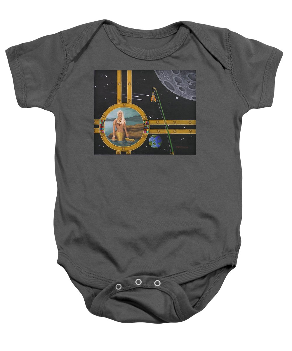 Fantasy Baby Onesie featuring the painting Vacation Fishing For Mermaids by Roz Eve