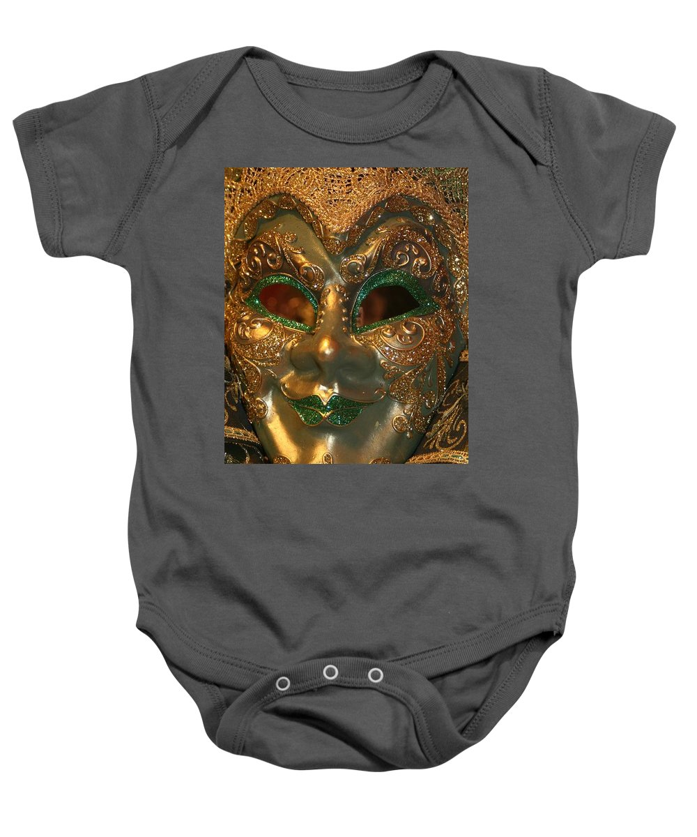 Masks Baby Onesie featuring the photograph Venetian Masks by Valia Bradshaw