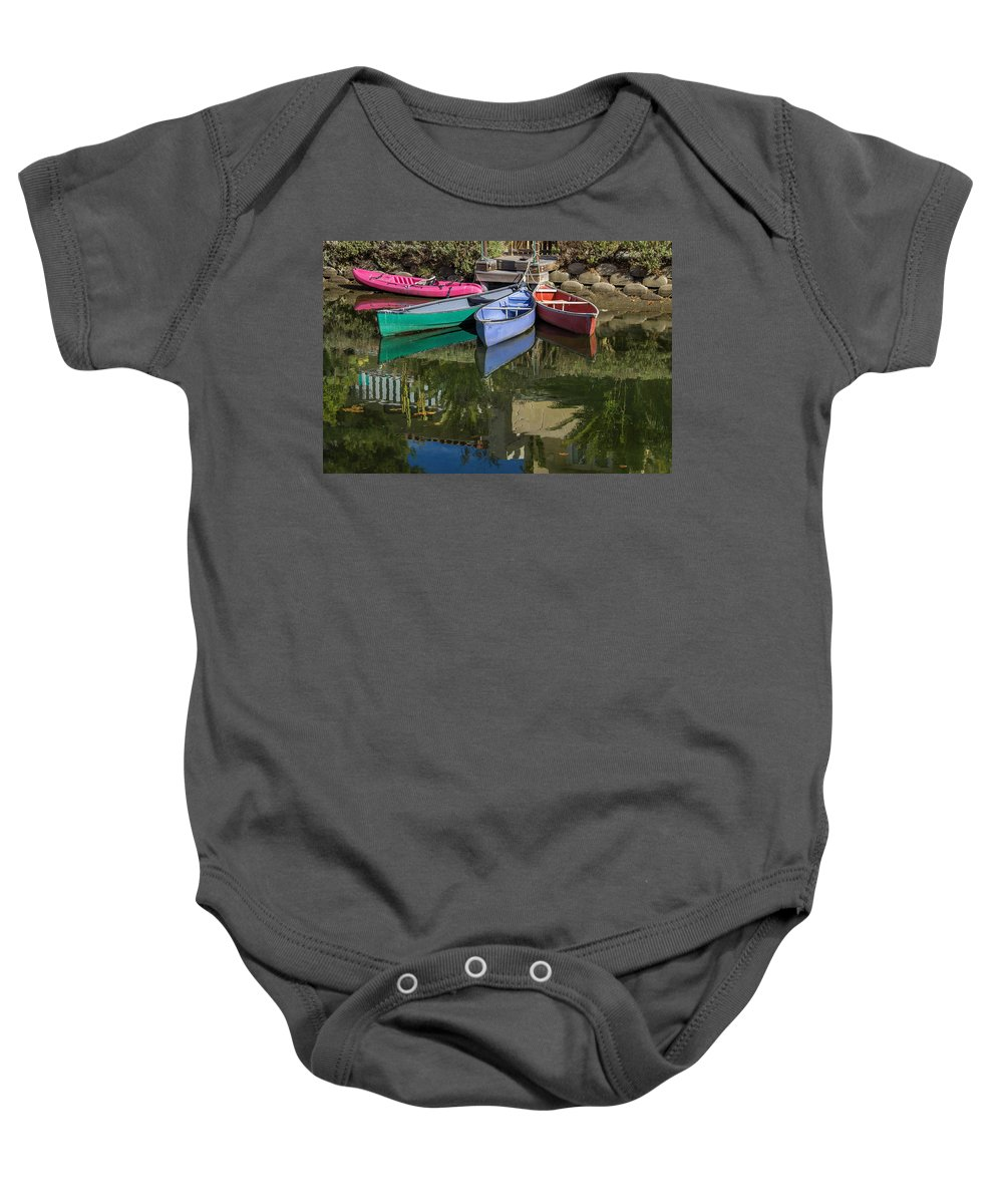 Boats Baby Onesie featuring the photograph Venice Canal Reflections by Roslyn Wilkins