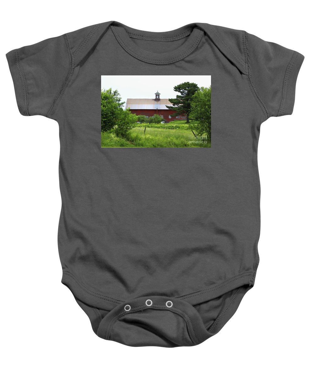 Barn Baby Onesie featuring the photograph Vermont Barn With Tire Swing by Deborah Benoit