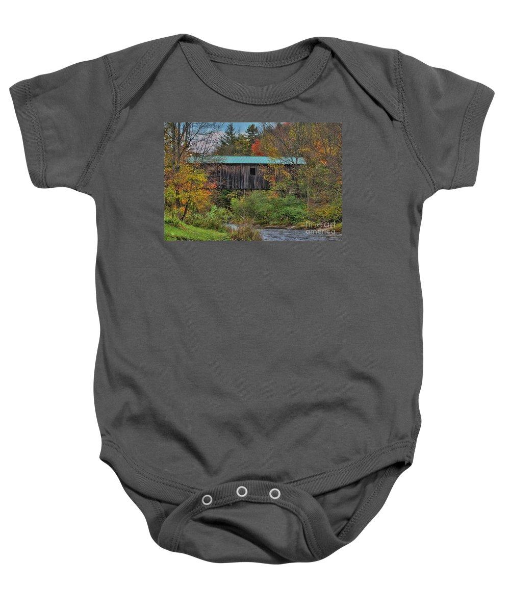 Autumn Baby Onesie featuring the painting Vermont Rural Autumn Beauty by Deborah Benoit