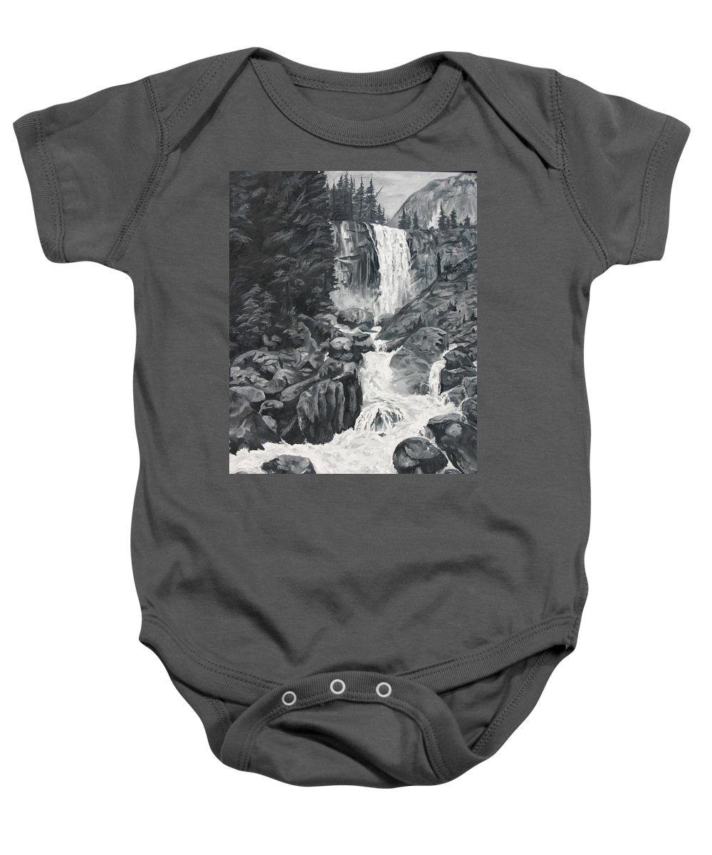 Landscape Baby Onesie featuring the painting Vernal Falls Black And White by Travis Day