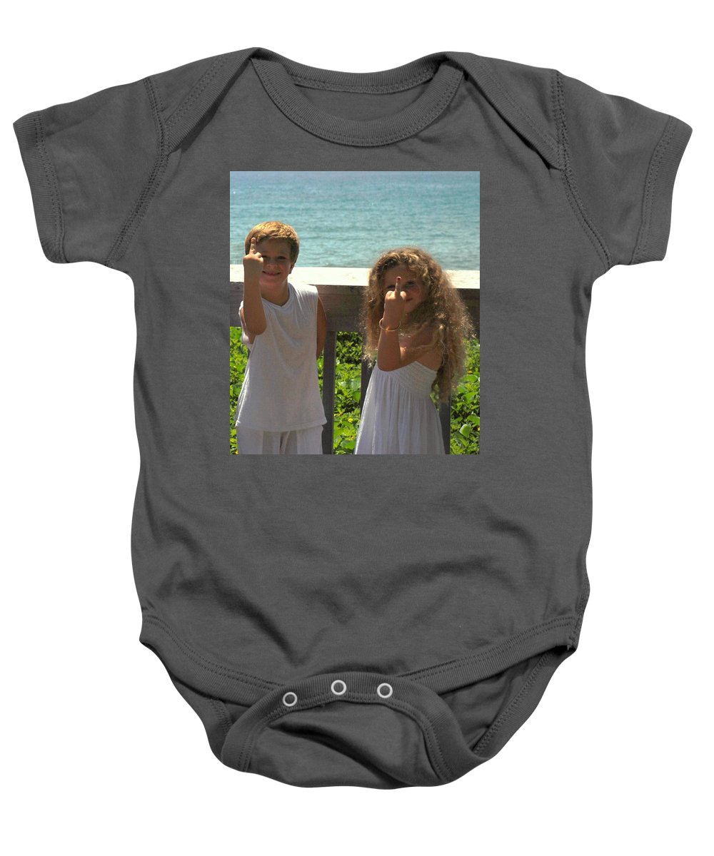 Kids Baby Onesie featuring the photograph Very Naughty Angels by Rob Hans