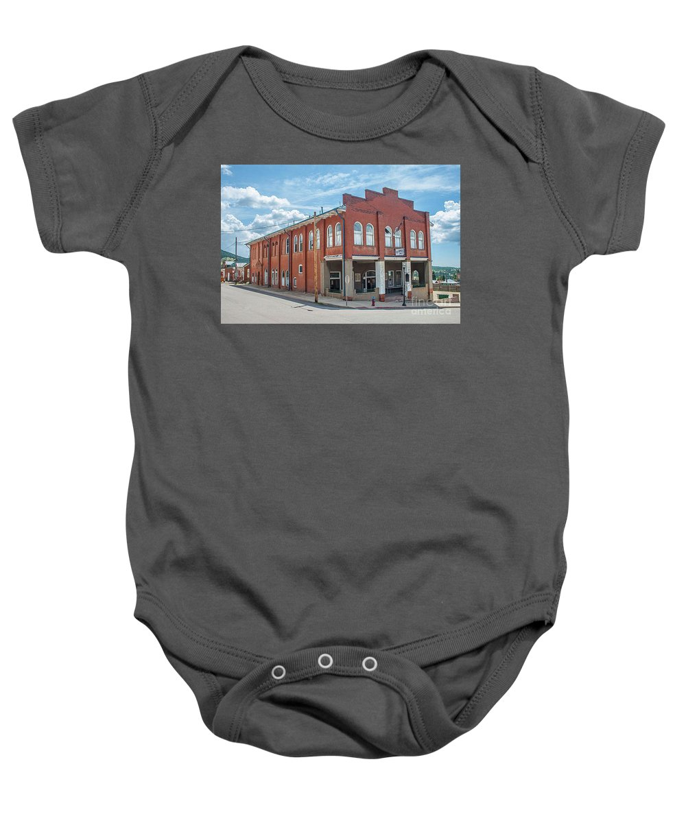 Elks Baby Onesie featuring the photograph Victor Elks Lodge by Tony Baca