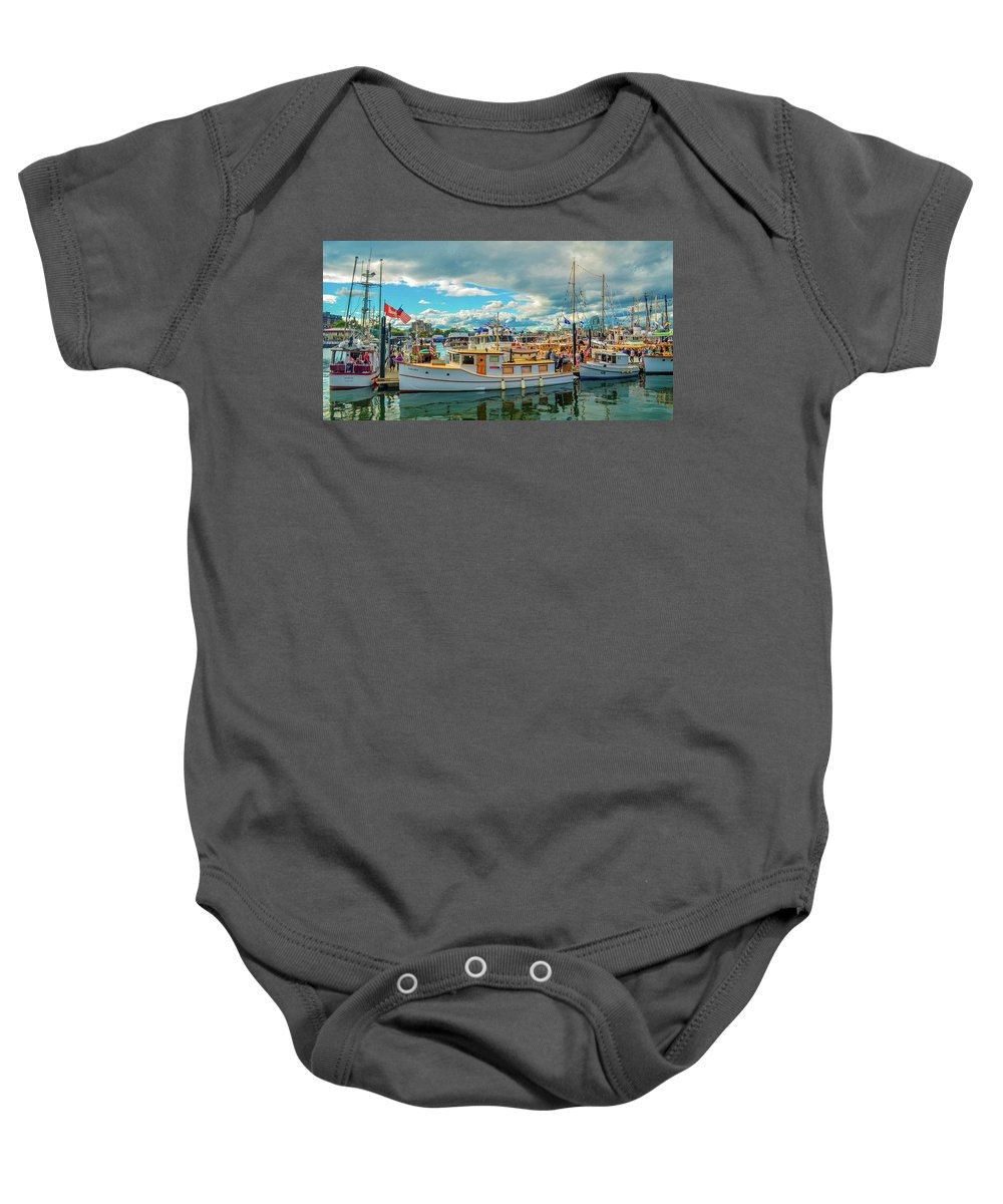 Boats Baby Onesie featuring the photograph Victoria Harbor old boats by Jason Brooks