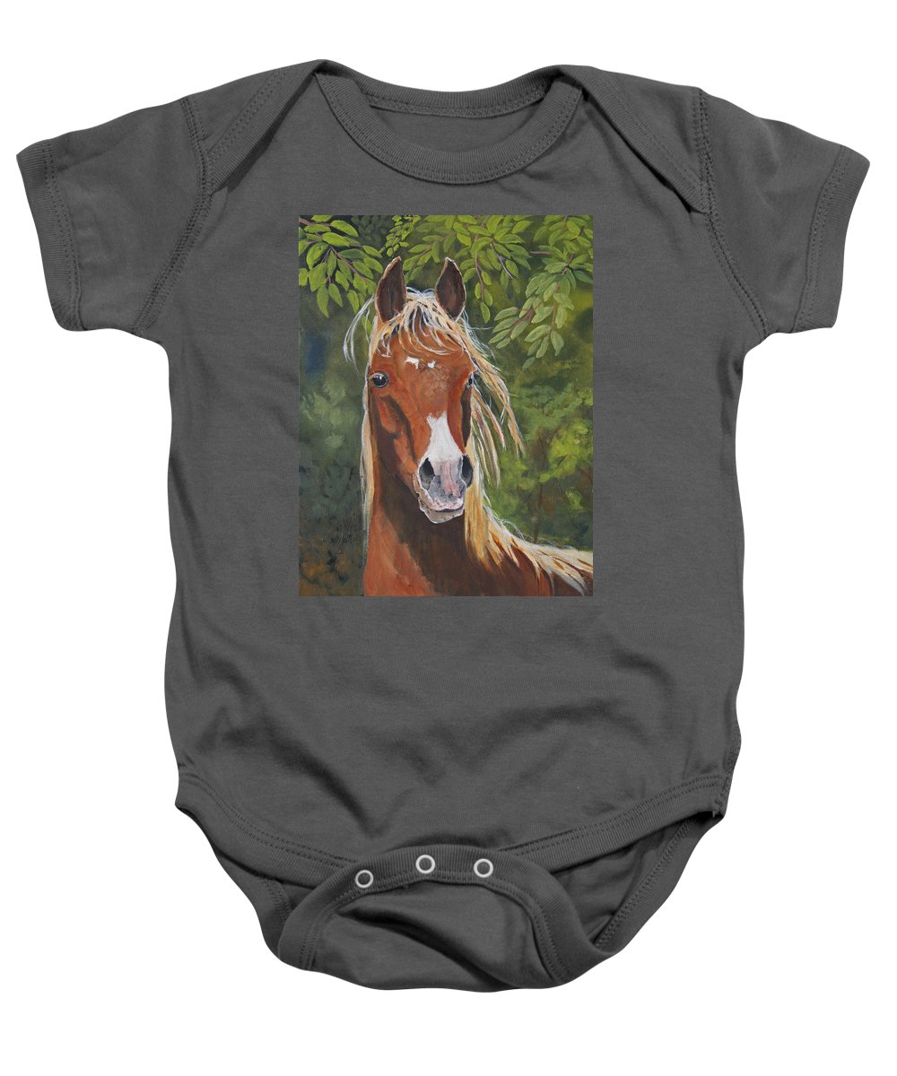 Horse Baby Onesie featuring the painting Victory by Heather Coen