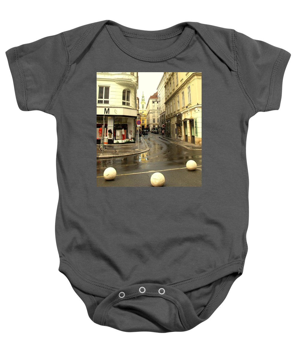 Vienna Baby Onesie featuring the photograph Vienna Corner After The Rain by Ian MacDonald