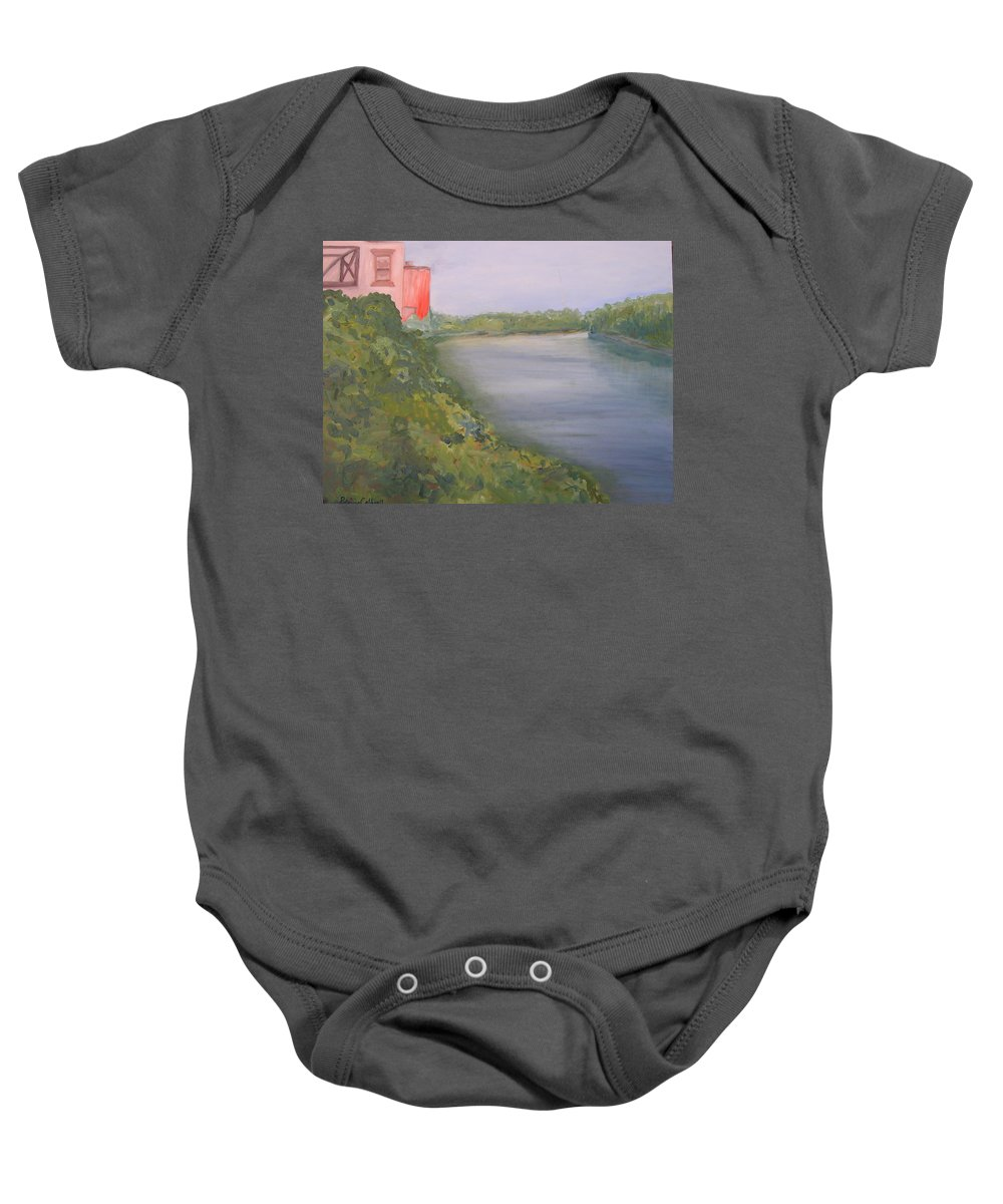 Landscape River Water Nature Baby Onesie featuring the painting View From Edmund Pettus Bridge by Patricia Caldwell