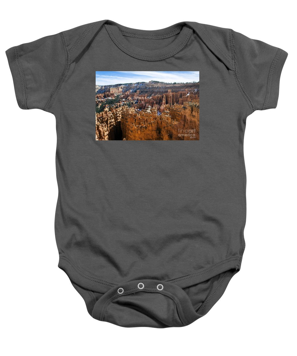 View From Rim Trail Baby Onesie featuring the photograph View From Rim Trail by Yefim Bam