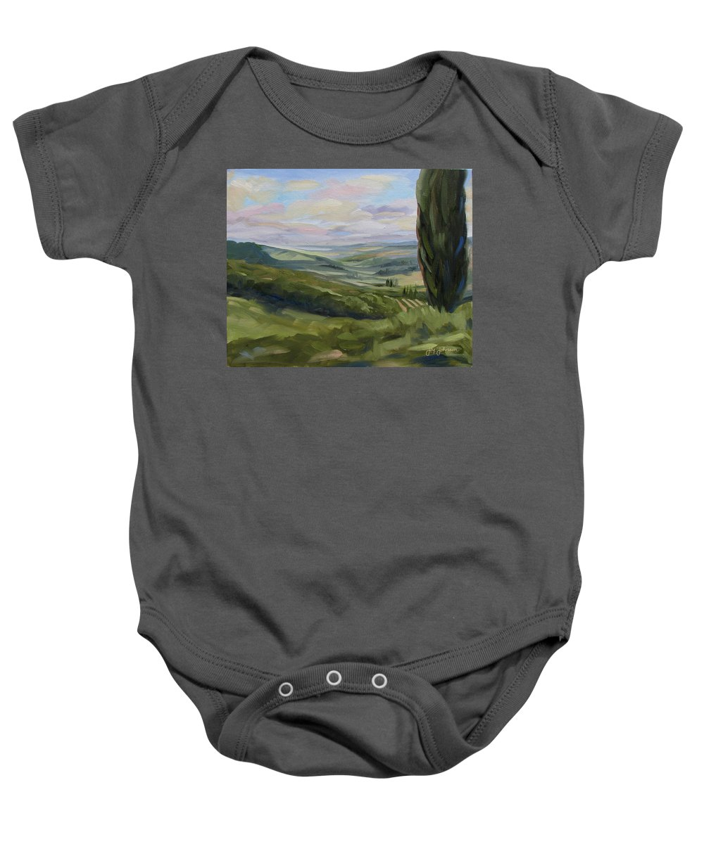 Landscape Baby Onesie featuring the painting View From Sienna by Jay Johnson
