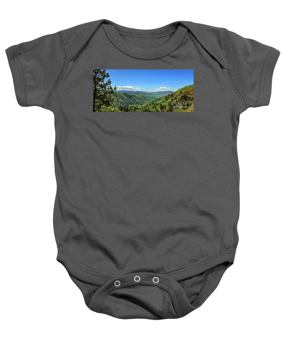 Idaho Baby Onesie featuring the photograph View From White Bird Hill by Robert Bales