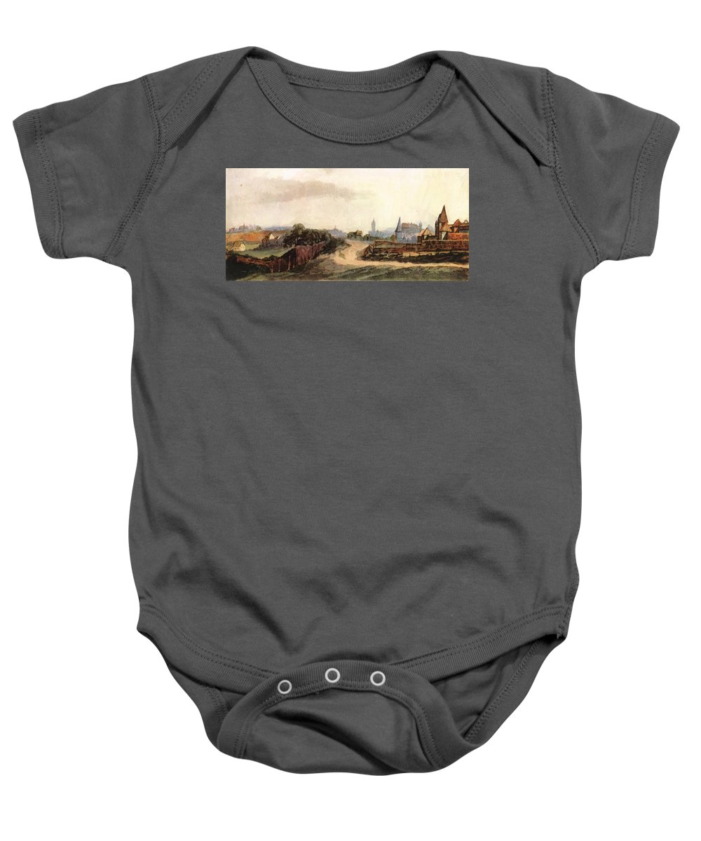 View Baby Onesie featuring the painting View Of Nuremberg 1497 by Durer Albrecht