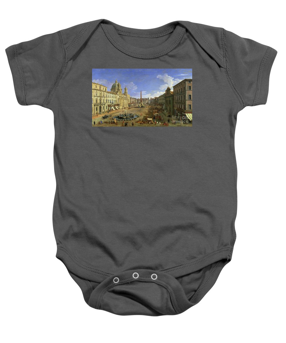 Rome Baby Onesie featuring the painting View Of The Piazza Navona by Canaletto