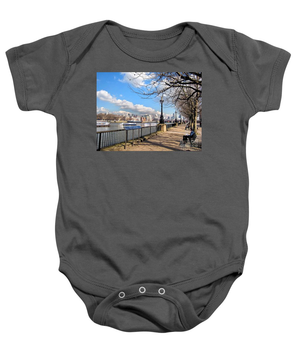 Thames Baby Onesie featuring the photograph View Of The Thames by Madeline Ellis