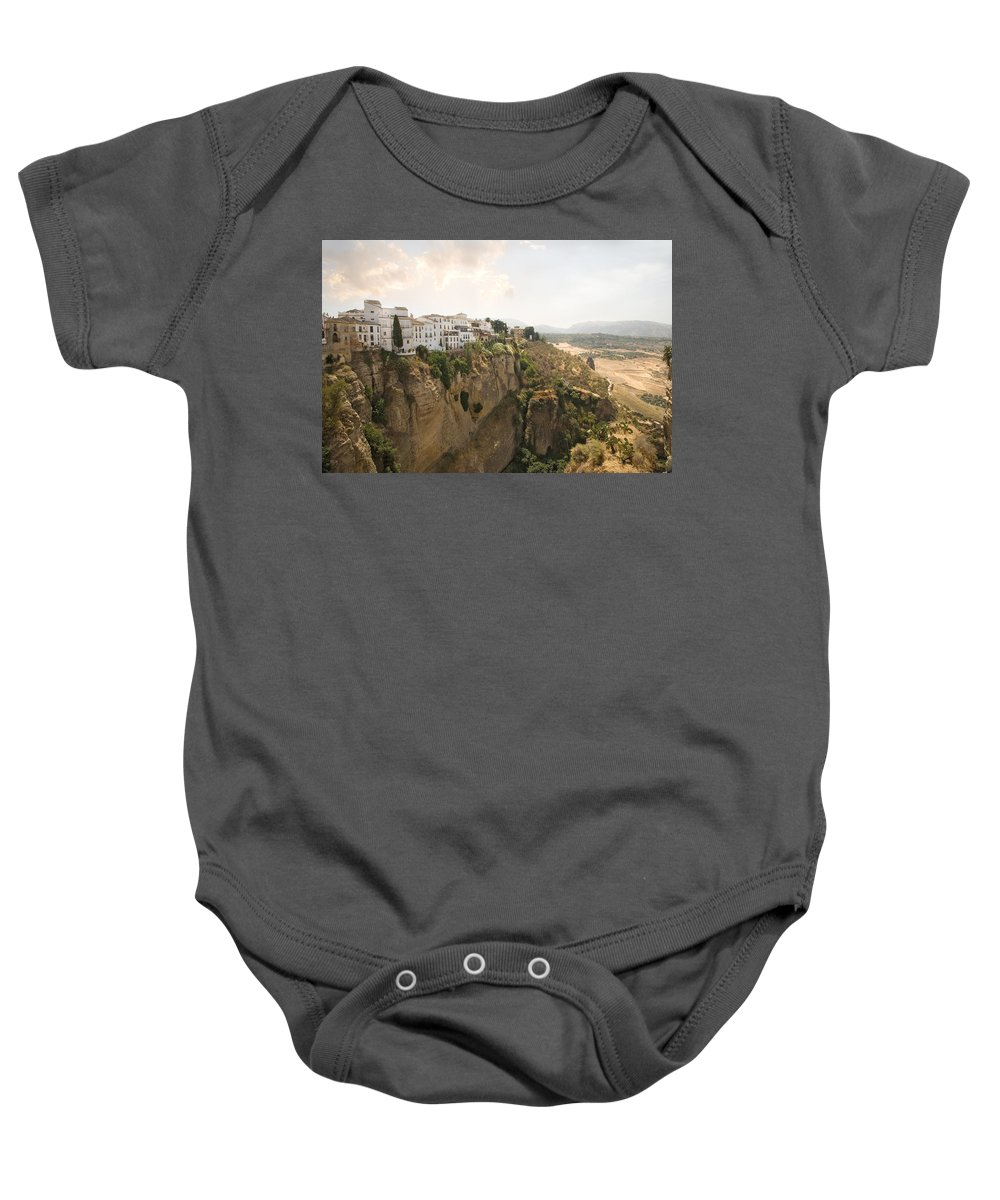 Ronda Baby Onesie featuring the photograph View Over The Tajo Gorge Ronda Home Of Bullfighting by Mal Bray