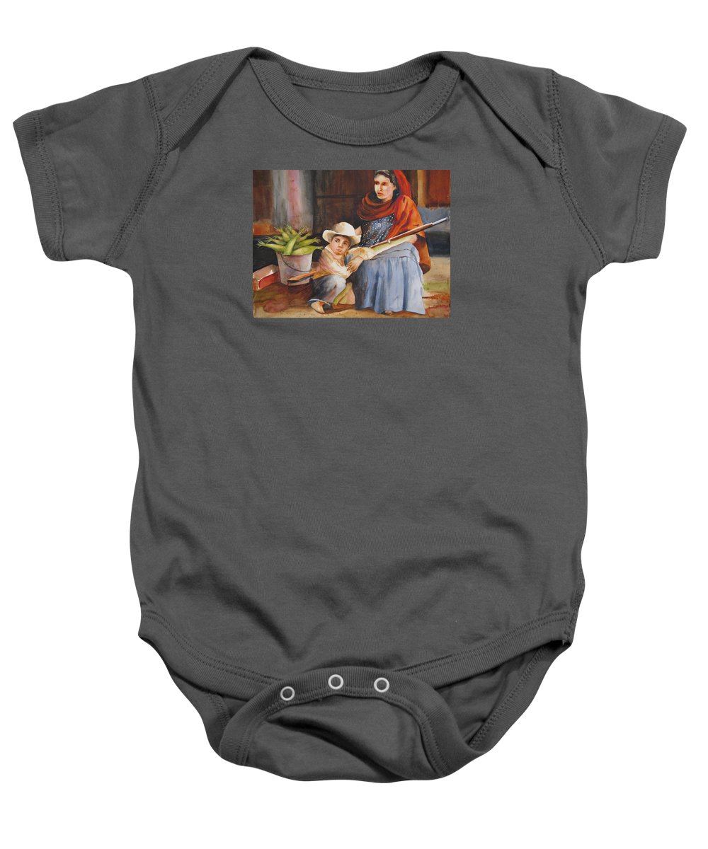 Mother Baby Onesie featuring the painting Vigil by Karen Stark