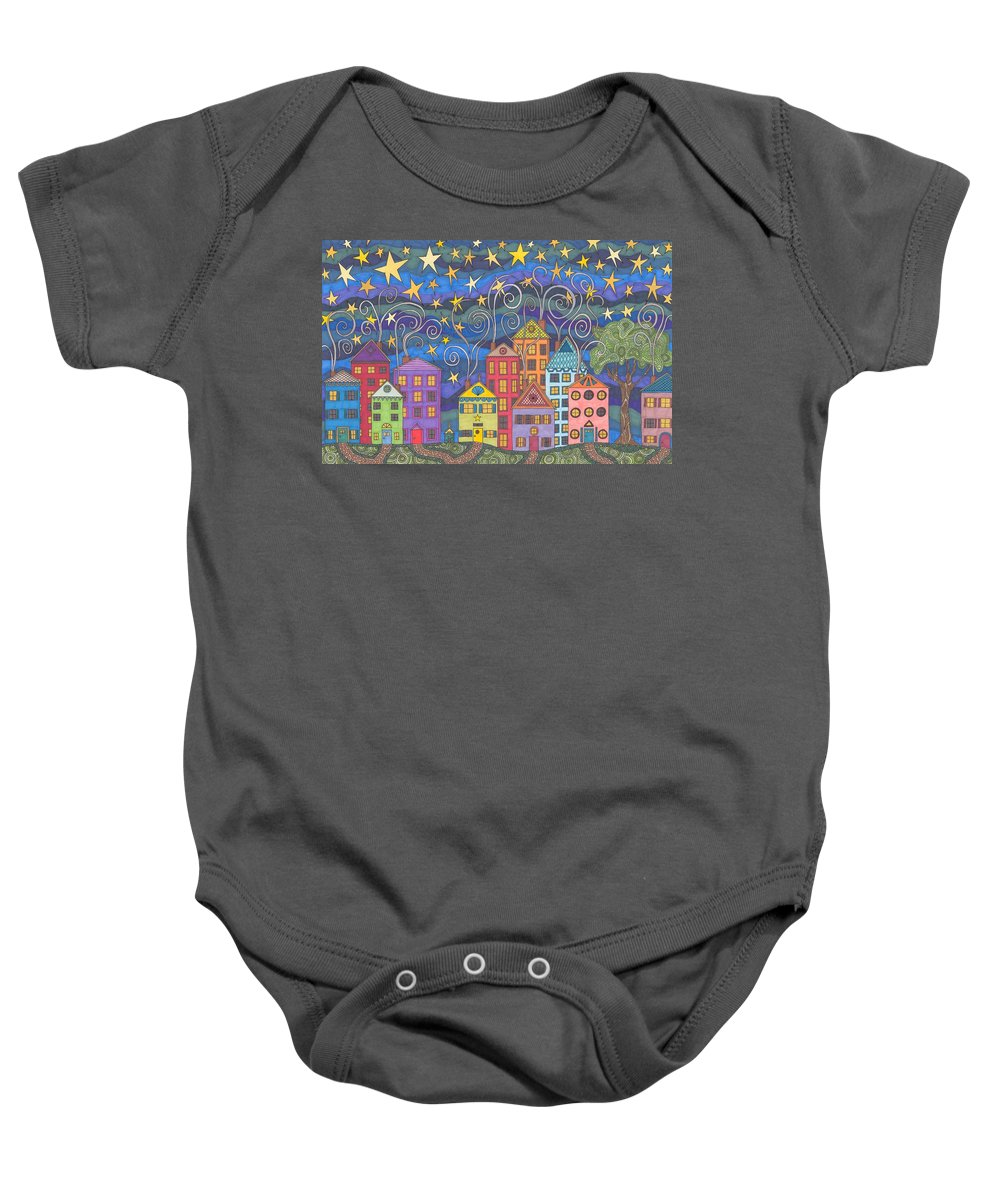 Village Baby Onesie featuring the drawing Village Lights by Pamela Schiermeyer