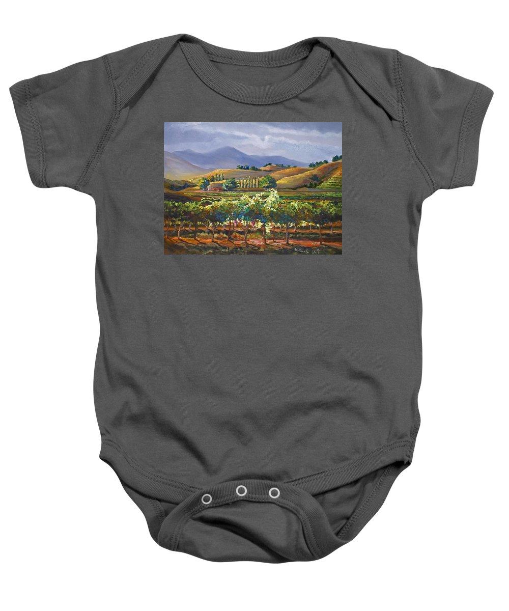 Vineyard Baby Onesie featuring the painting Vineyard In California by Heather Coen