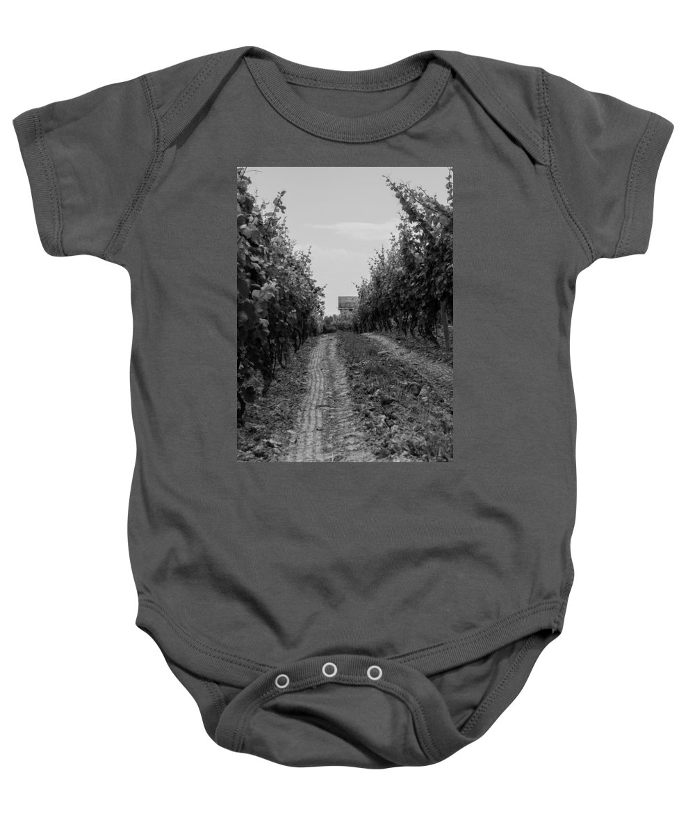 Vineyard Baby Onesie featuring the photograph vineyard of old BW by Photographic Arts And Design Studio