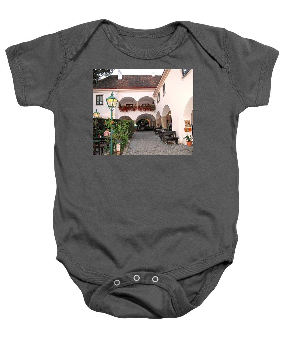 Wine Baby Onesie featuring the photograph Vineyard Restaurant by Ian MacDonald