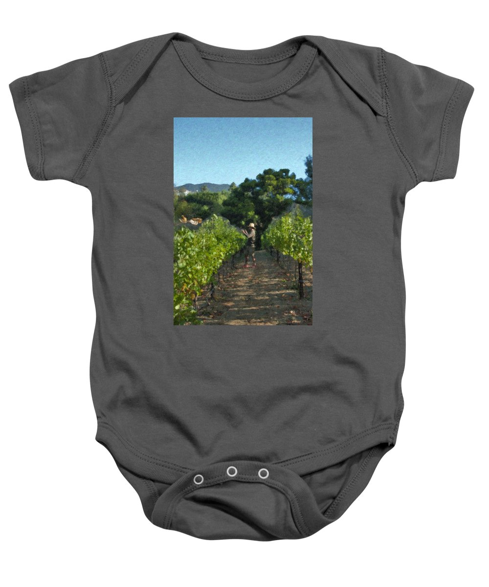 Rows Baby Onesie featuring the photograph Vineyard Sauvignon Blanc Grapes by David Zanzinger