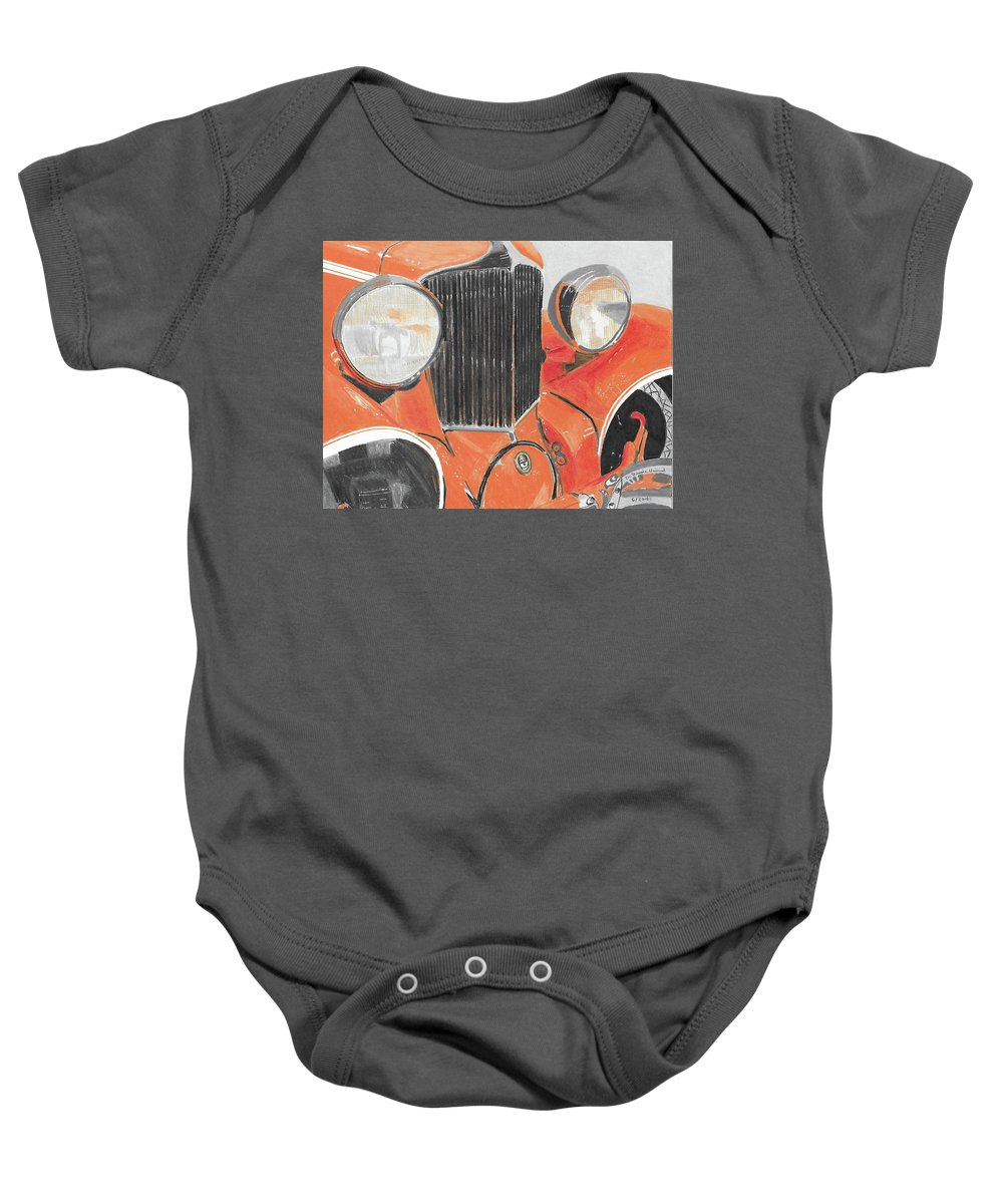 Cars Baby Onesie featuring the painting Vintage Auto by Dr Jessie Hummel