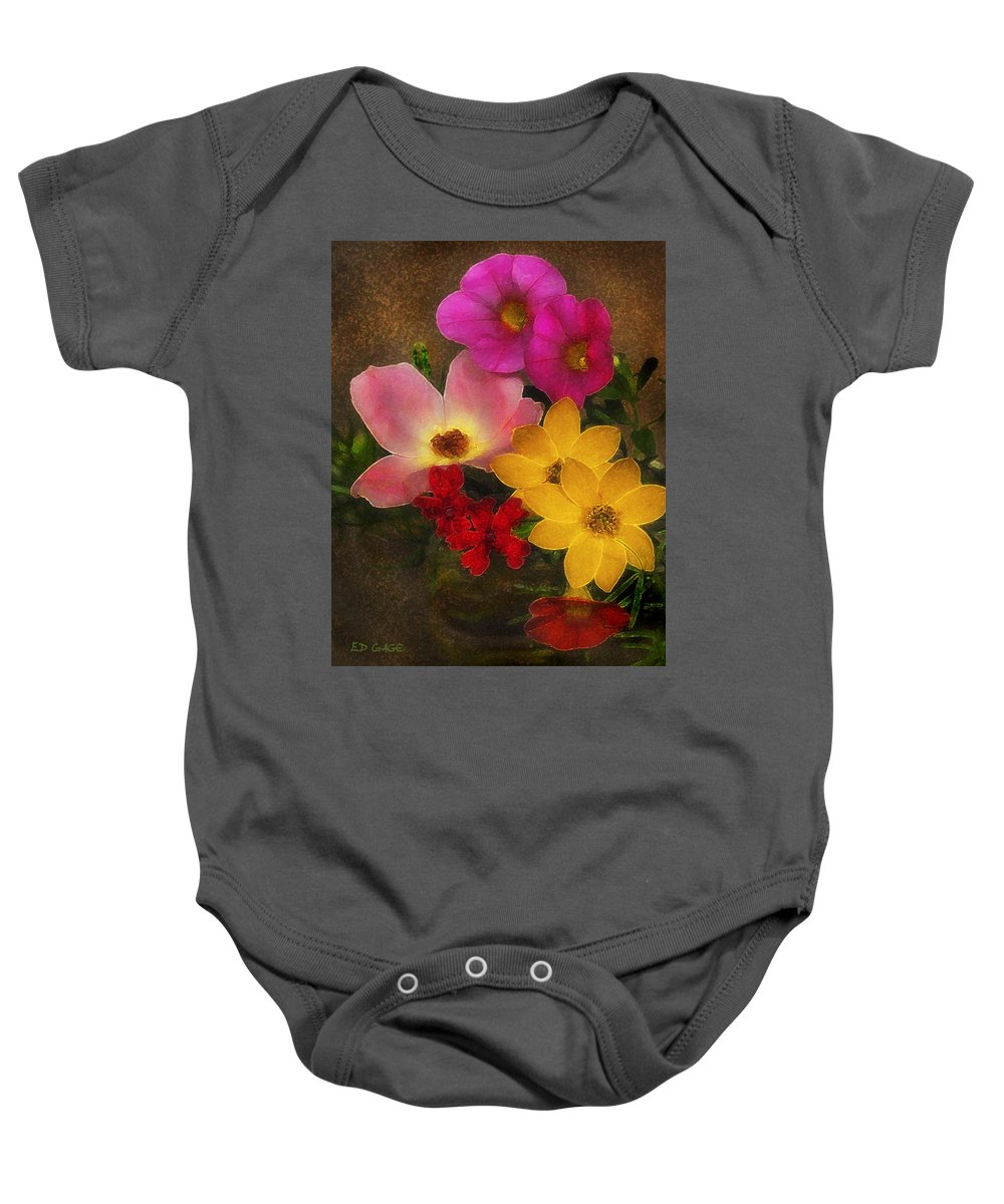 Flower Baby Onesie featuring the photograph Vintage Bouquet by Ed A Gage