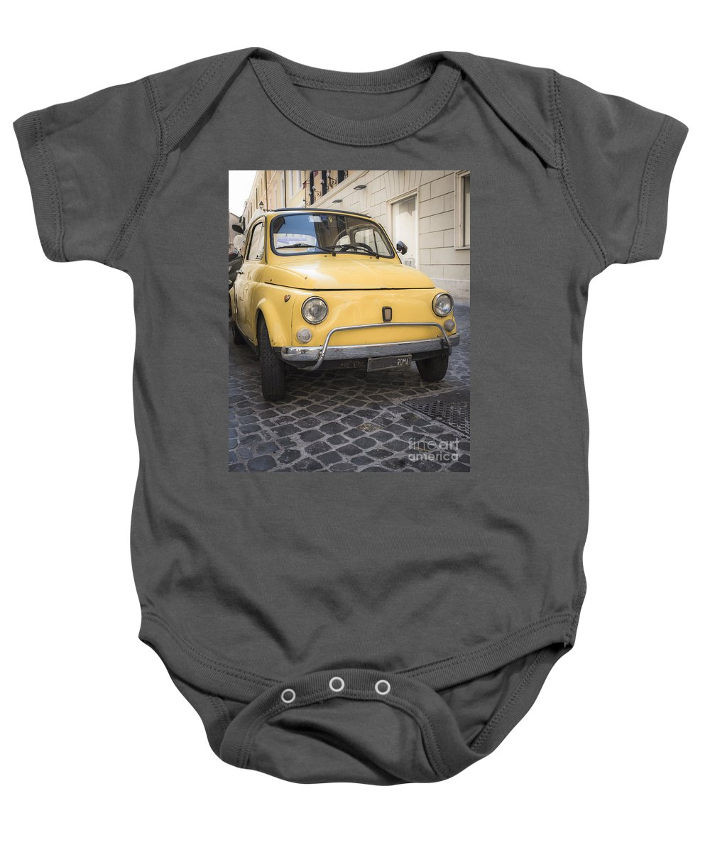 Vintage Baby Onesie featuring the photograph Vintage Yellow Fiat 500 In Rome by Edward Fielding