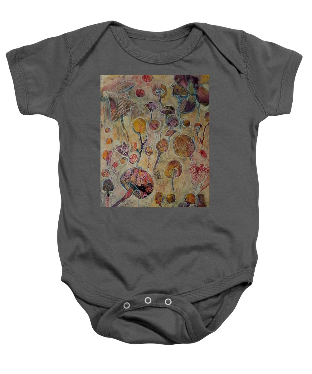 Botanical Baby Onesie featuring the mixed media Violet's Fairy Garden by Jessica Lee