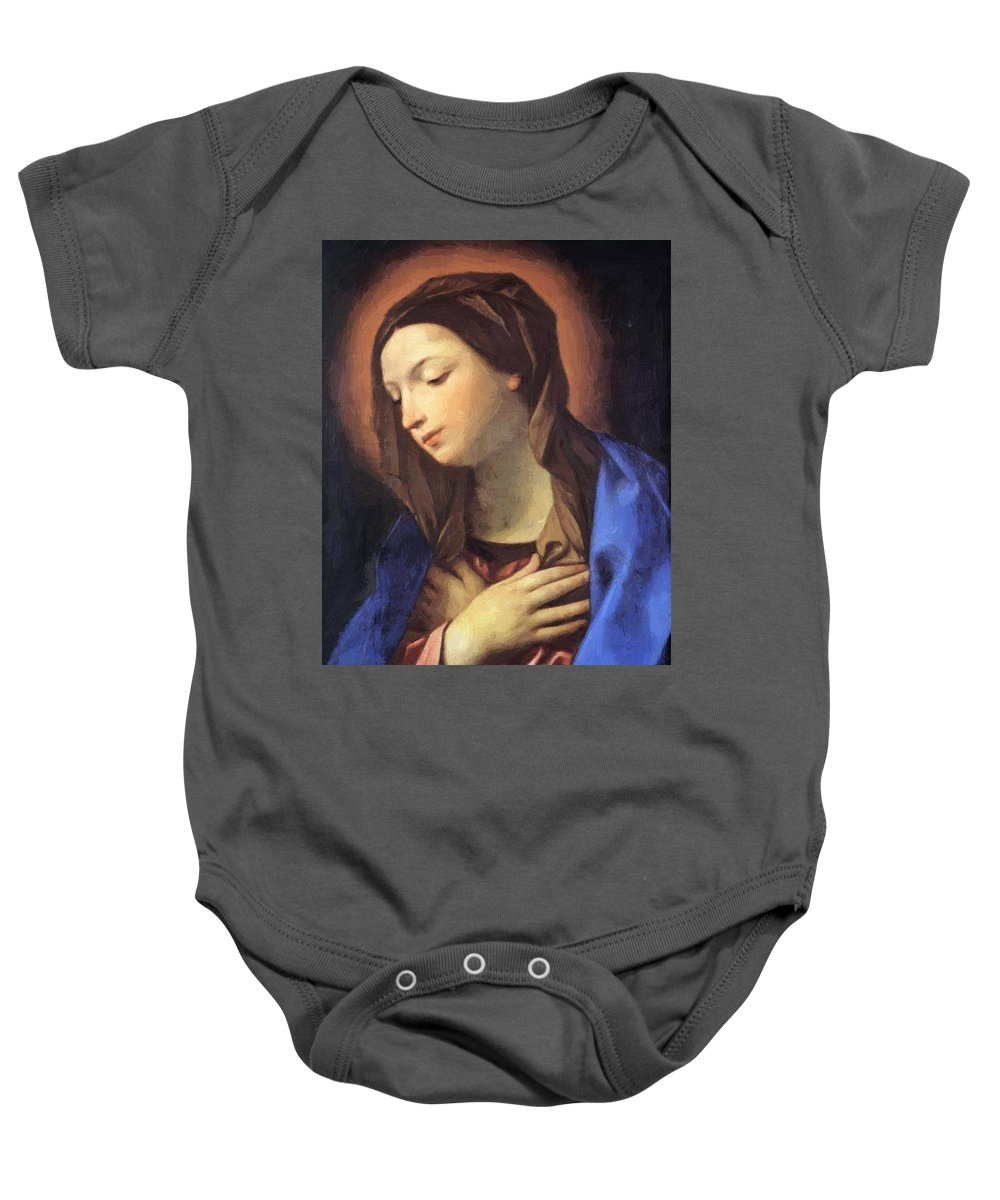 Virgin Baby Onesie featuring the painting Virgin Of The Annunciation by Reni Guido