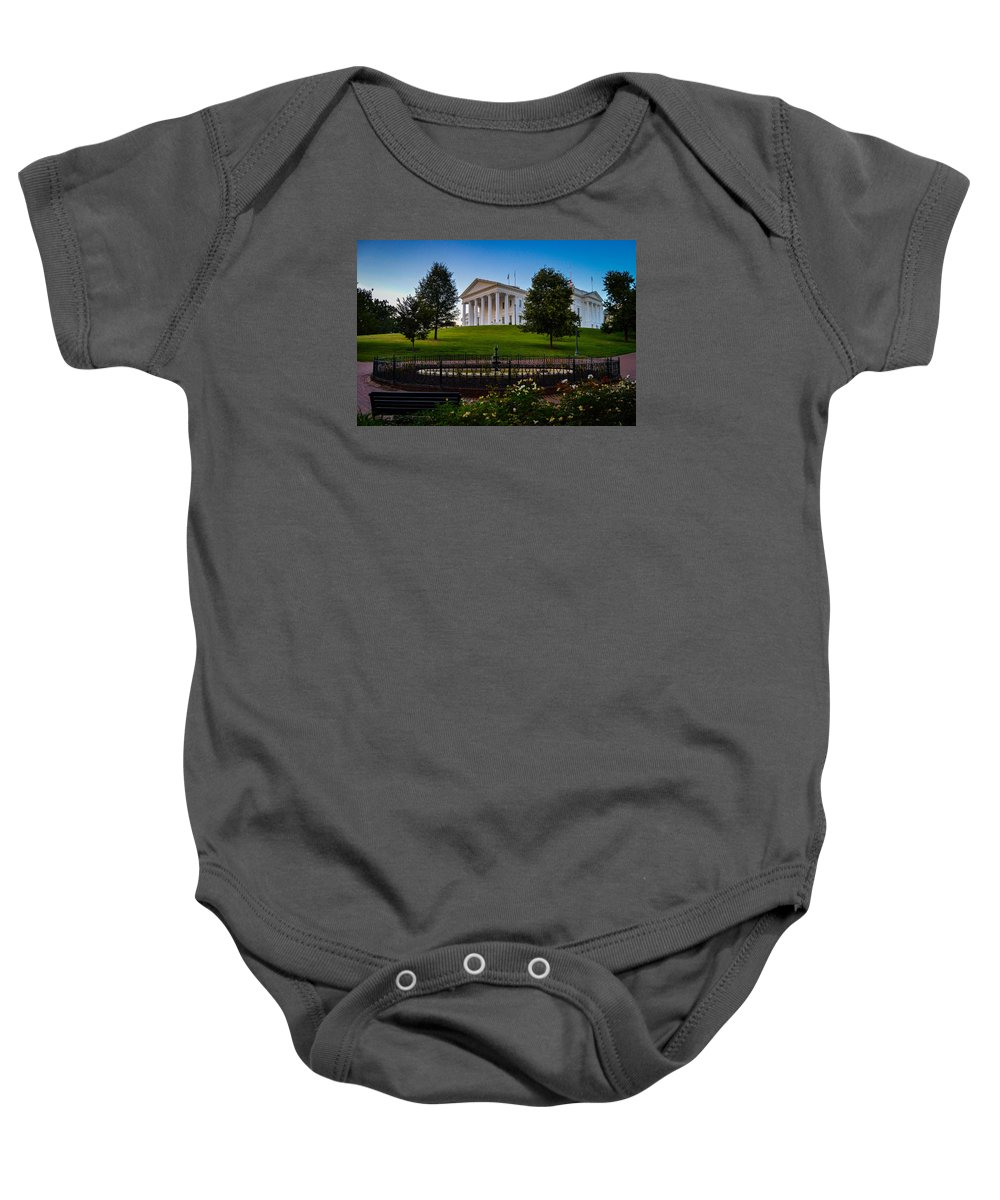 Richmond Baby Onesie featuring the photograph Virginia Capitol Building by Aaron Dishner