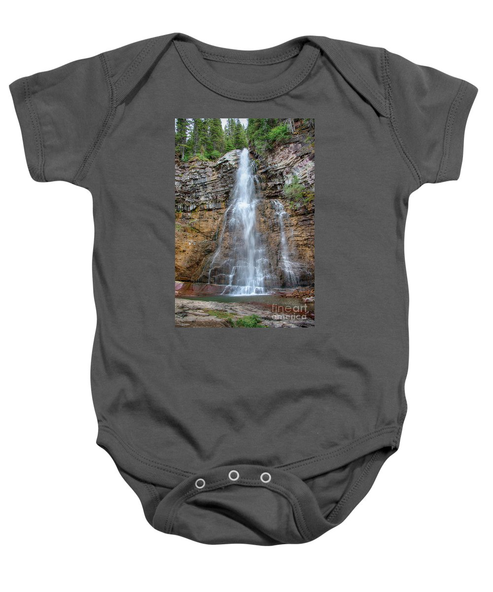 Virginia Falls Baby Onesie featuring the photograph Virginia Falls - Glacier National Park by Yefim Bam
