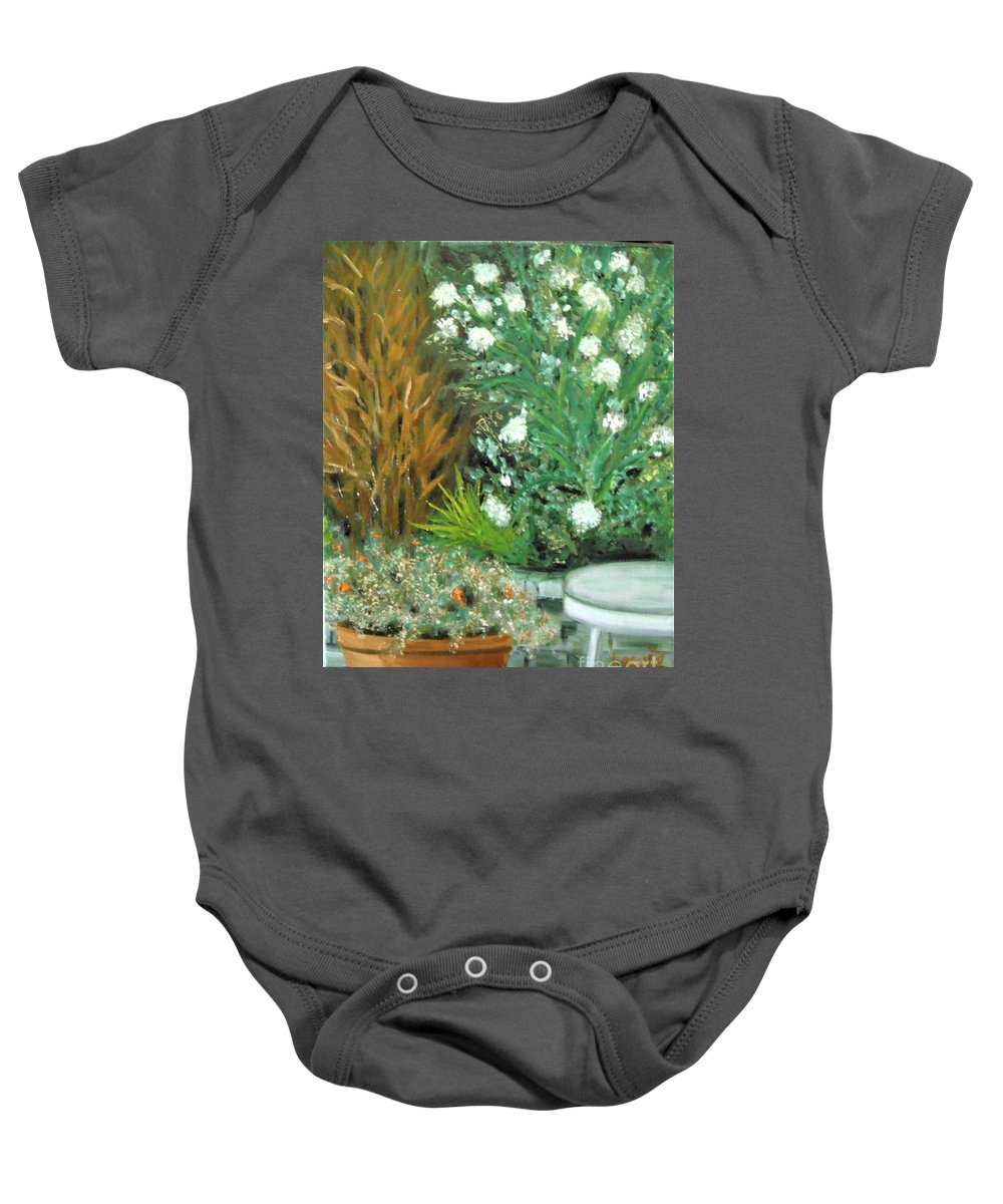 Plein Air Baby Onesie featuring the painting Virginia's Garden by Laurie Morgan