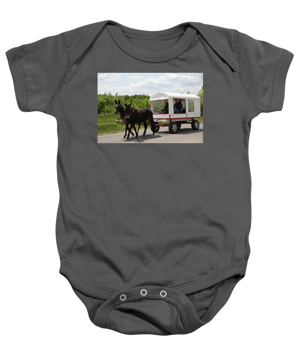 Mule Baby Onesie featuring the photograph Wagon 6 by Dwight Cook