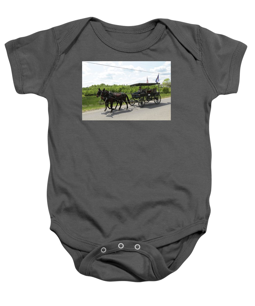 Mule Baby Onesie featuring the photograph Wagon 9 by Dwight Cook