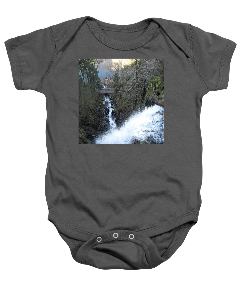 Columbia Gorge Baby Onesie featuring the photograph Wah Gwin Gwin Falls 1 by Ingrid Smith-Johnsen