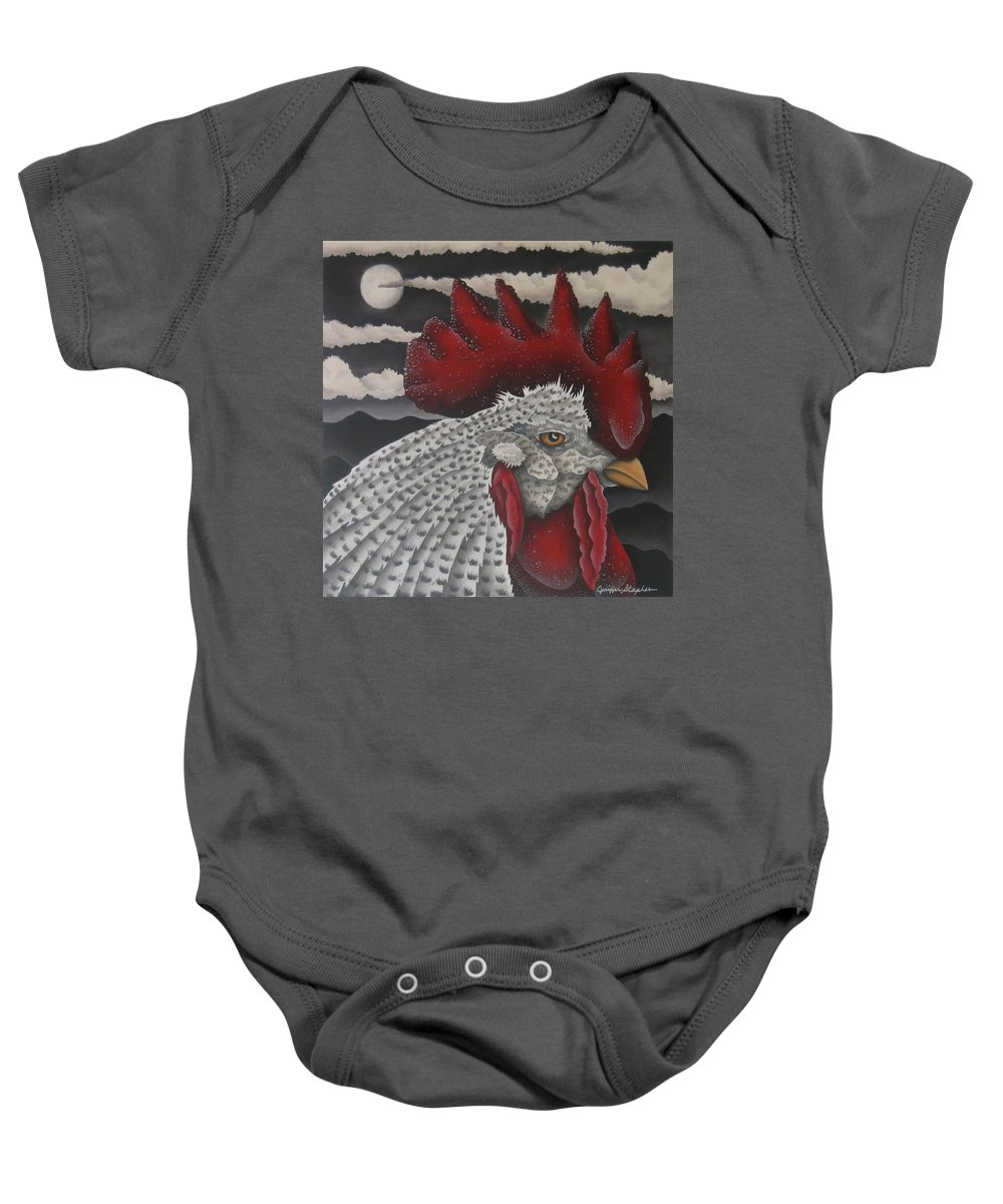Rooster Baby Onesie featuring the painting Waiting For Daybreak by Jeniffer Stapher-Thomas