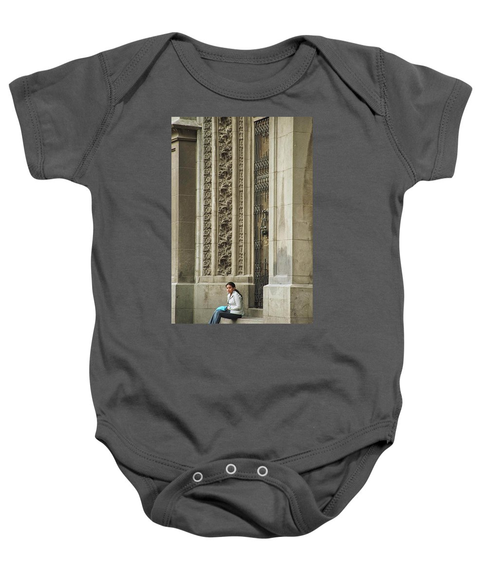 Church Baby Onesie featuring the photograph Waiting For God by Kathy McClure