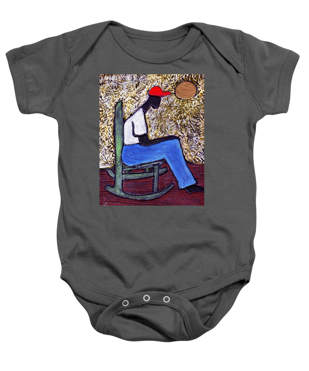 Black Art Baby Onesie featuring the painting Waiting For The Dream by Wayne Potrafka